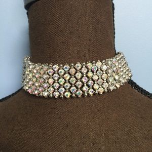 Iridescent Rhinestone Choker Necklace
